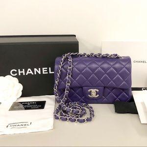 Chanel classic mini Lambskin purple AUTHENTICATED